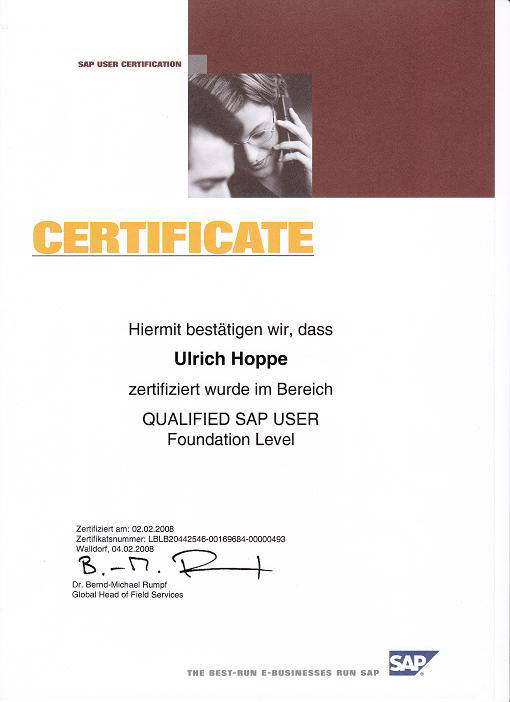SAP Zertifikat  QUALIFIED SAP USER Foundation Level Ulrich Hoppe